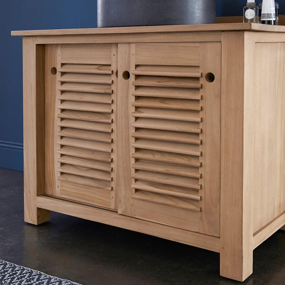 meuble simple vasque l 95 x h 75 x p 55 cm teck coline