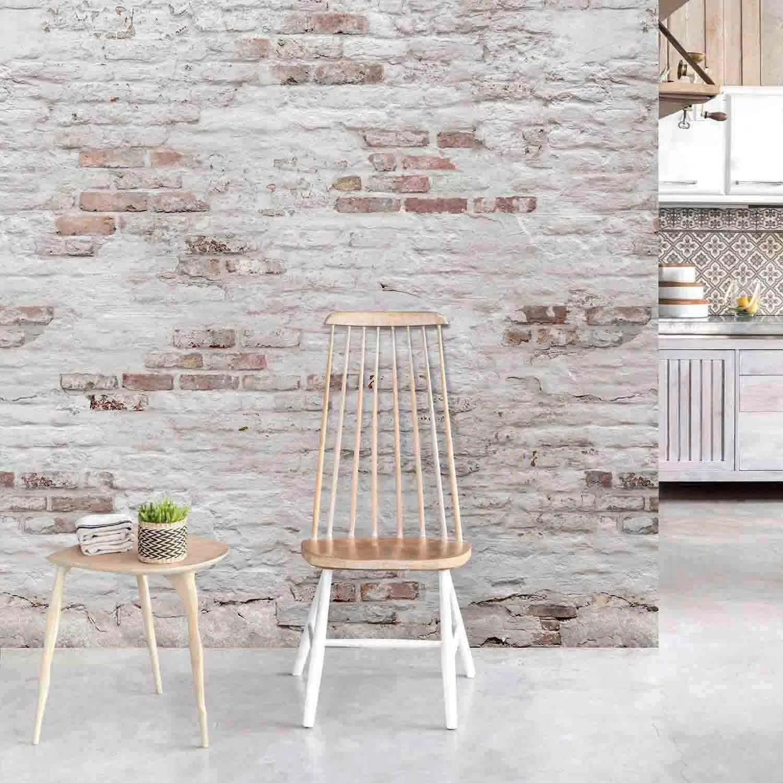 papier peint panoramique brick blanc et marron l 159 x h 280 cm