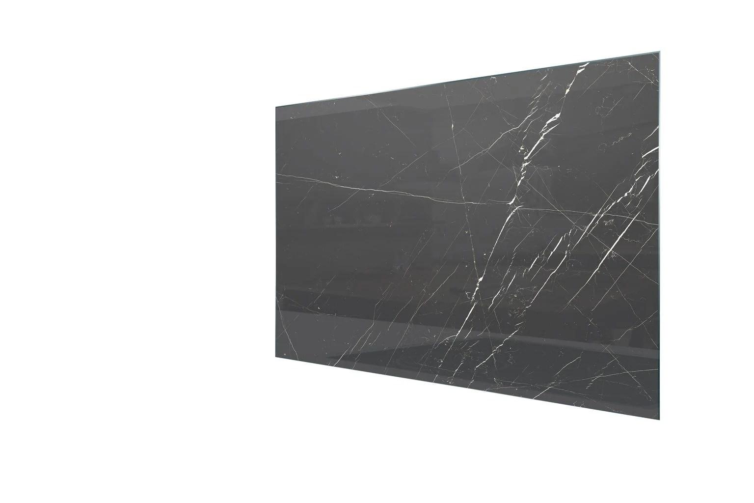 fond de hotte verre trempe effet marbre noir brillant h 70 cm x ep 5 mm x l 90 c