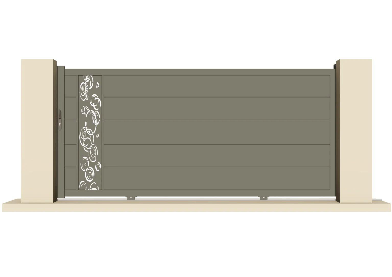 Portail Coulissant Aluminium Auzay Pluie Gris Quartz L 308 Cm X H 169 7 Cm Leroy Merlin