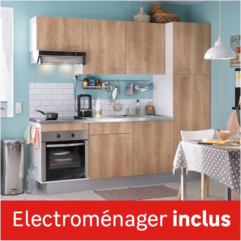 Cuisine Equipee Imitation Chene Clair L 240 Cm Electromenager Inclus Leroy Merlin
