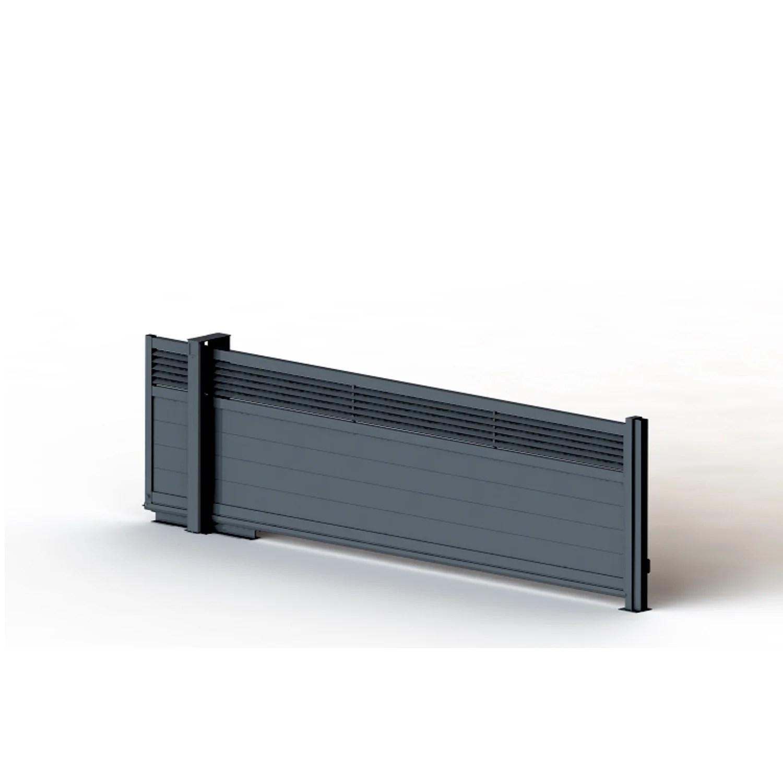 Portail Coulissant Aluminium Decoline Gris L 400 X H 155 Cm Leroy Merlin
