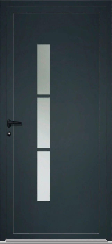 porte de service alu h 200 x l 90 cm vitree gris anthracite poussant gauche