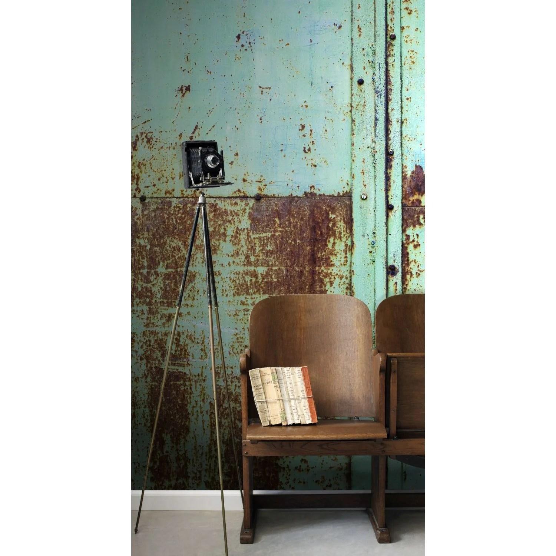 papier peint panoramique effet metal turquoise intisse esta l 186 x h 279 cm leroy merlin