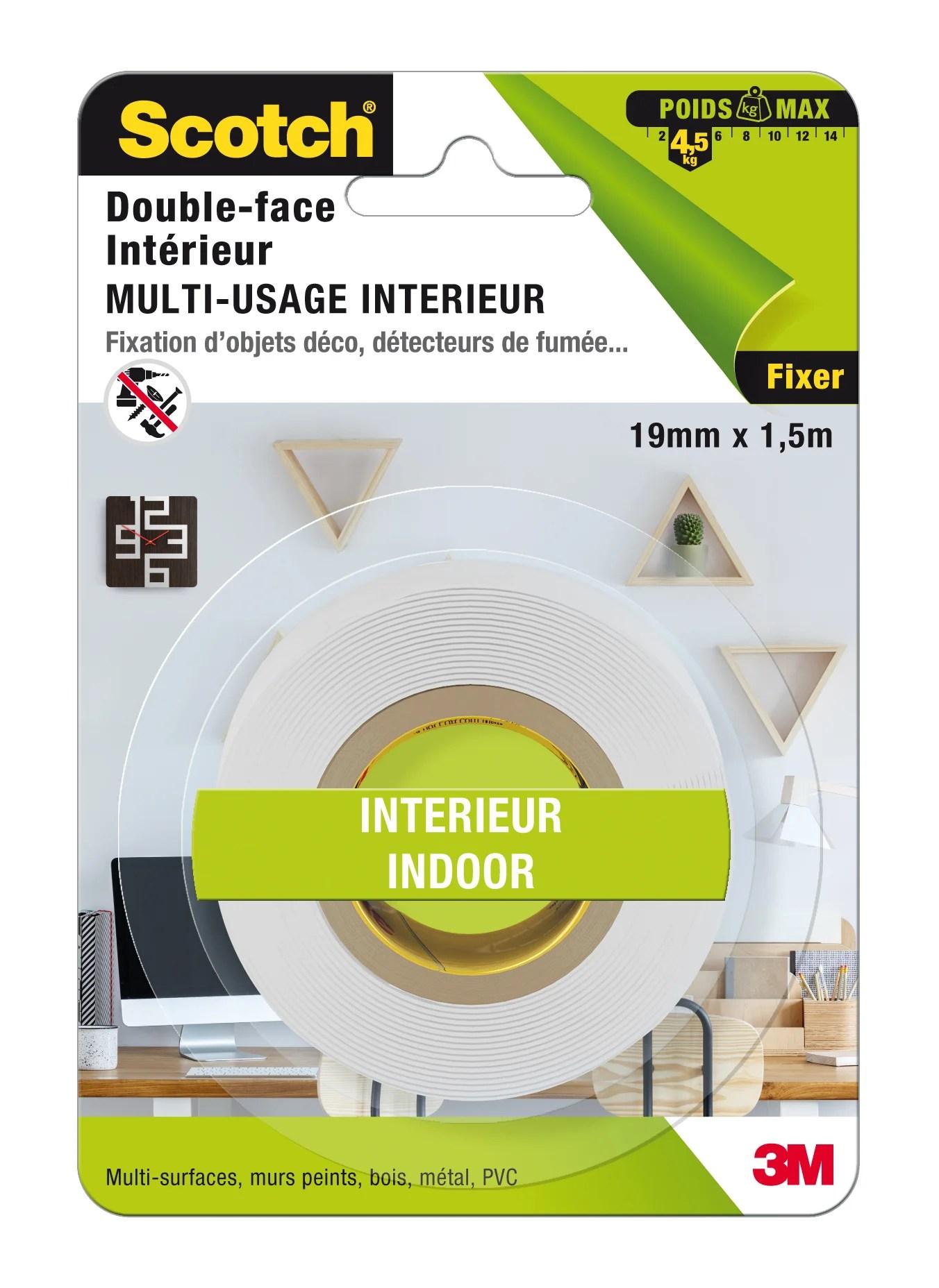 Rouleau Adhesif Double Face Multi Usage Interieur Scotch L 1 5 M X L 19 Mm Leroy Merlin