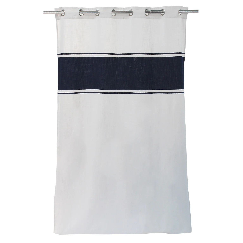rideau tamisant coton rakel blanc et bleu nuit l 140 x h 250 cm