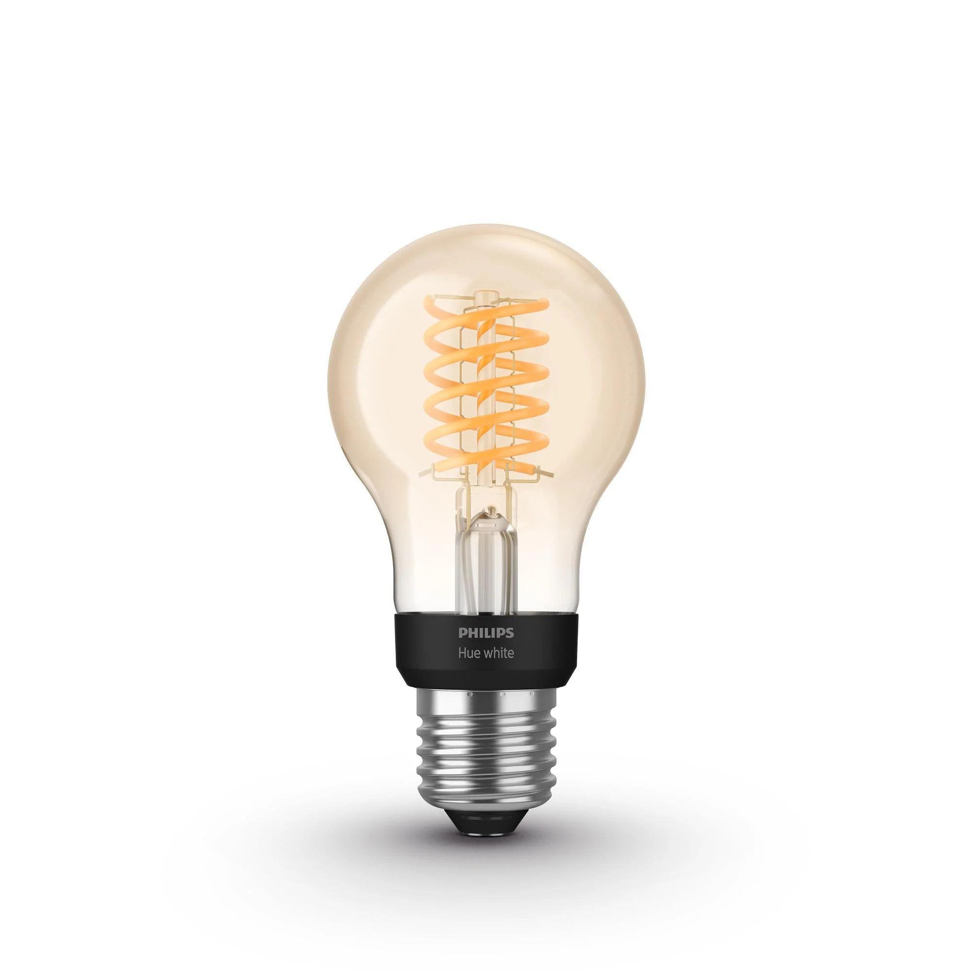Ampoule Connectee Led A Filament Ambre Standard E27 550 Lm 40 W Ambre Philips Leroy Merlin