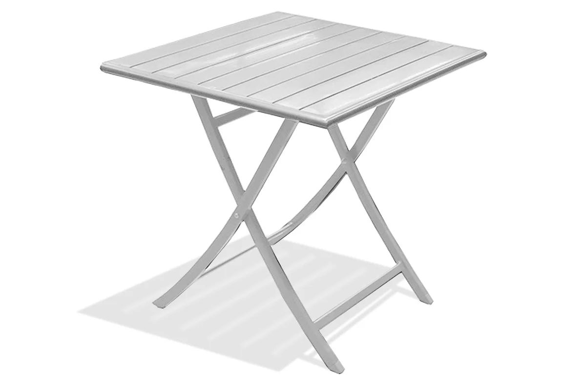 Table De Jardin De Repas Marius Carree Gris Metal 2 Personnes Leroy Merlin