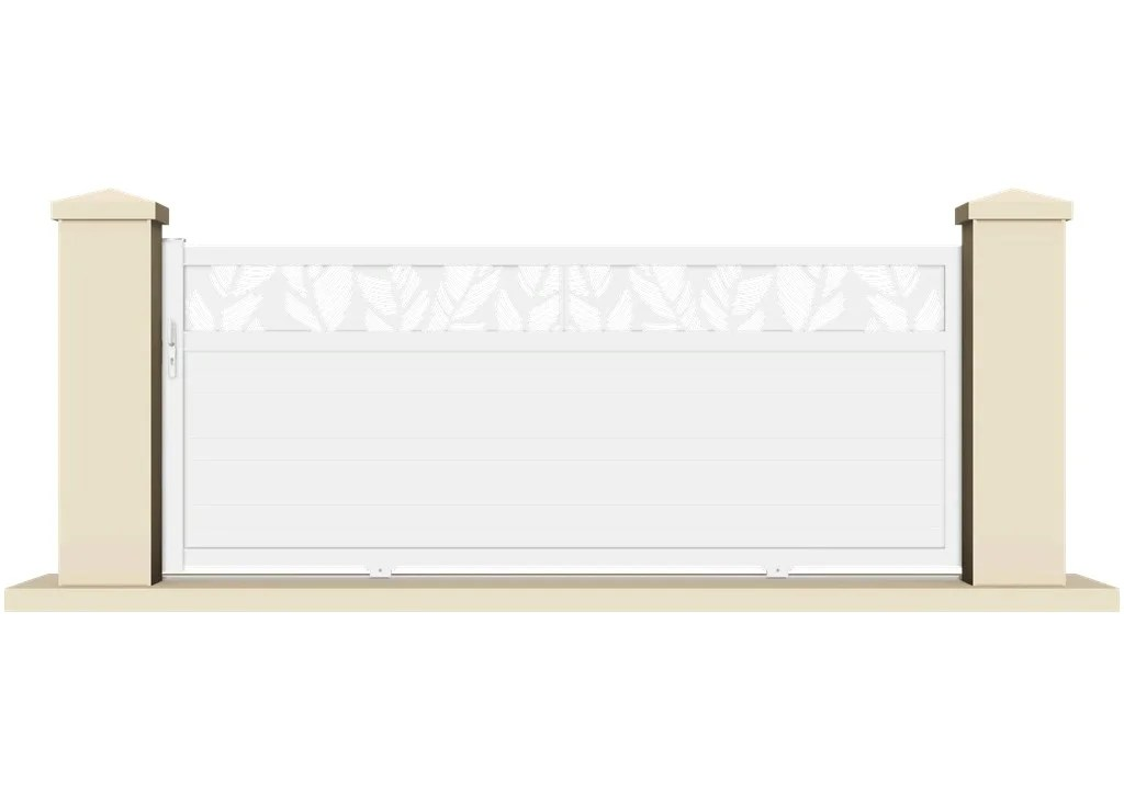 Portail Coulissant Pvc Olivet Blanc L 355 X H 150 Cm Leroy Merlin