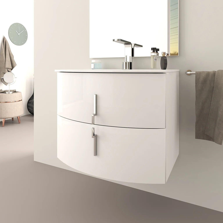 Meuble Simple Vasque L 70 X H 55 Blanc Brillant Sting Leroy Merlin