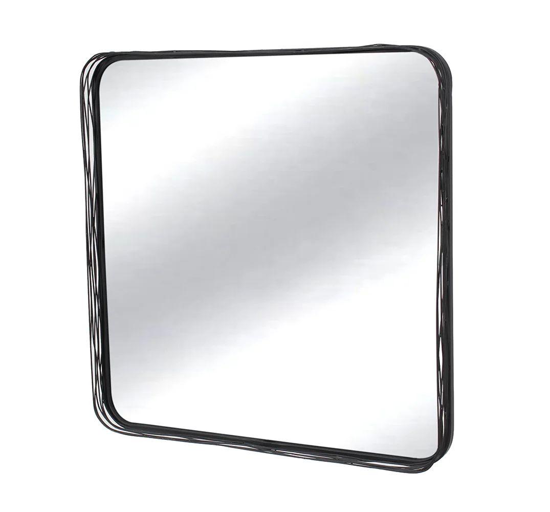 Miroir Carre Filaire En Metal Noir L 80 X H 80 Cm Leroy Merlin