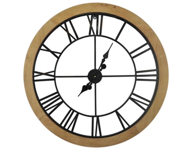 Horloge Metal Bois Et Metal Noir Diam 80 Cm Leroy Merlin