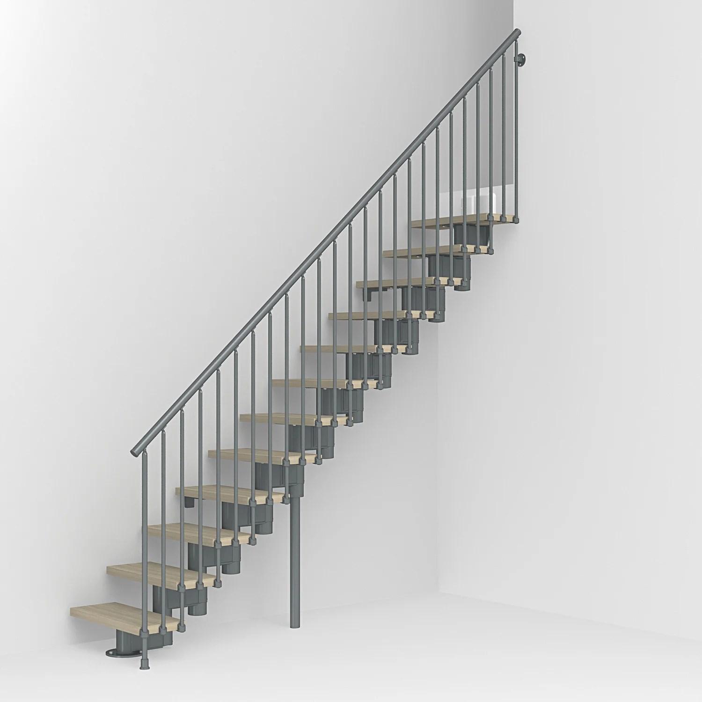 escalier droit revers acier gris anthracite long 12 marches orme clair l 80 cm