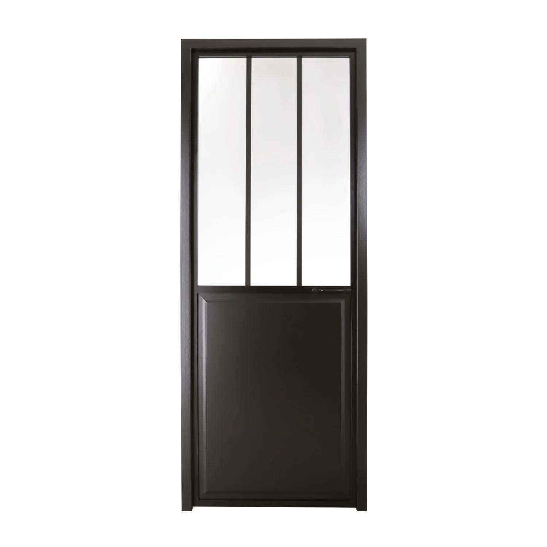 Bloc Porte Atelier Vitre Atelier Noir H 204 X L 73 Cm Poussant Gauche Leroy Merlin