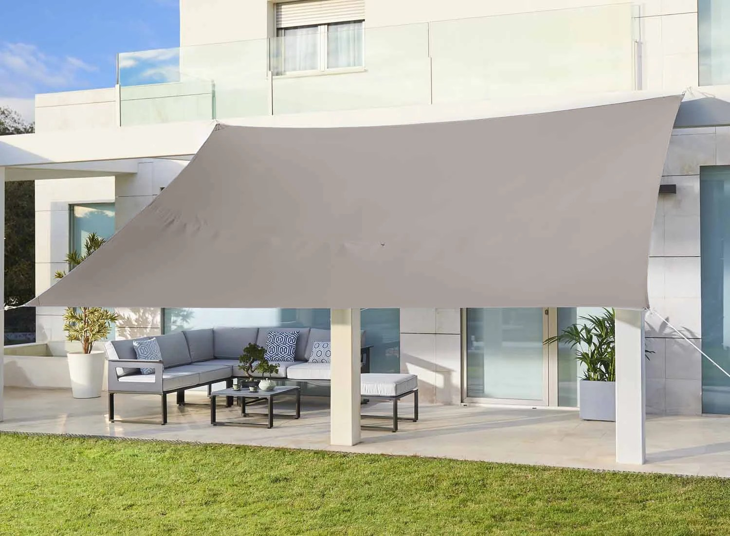 Voile D Ombrage Rectangulaire Taupe L 400 X L 300 Cm Leroy Merlin