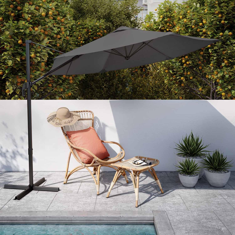 parasol deporte gris hexagonal naterial avea l 289 x l 289 cm