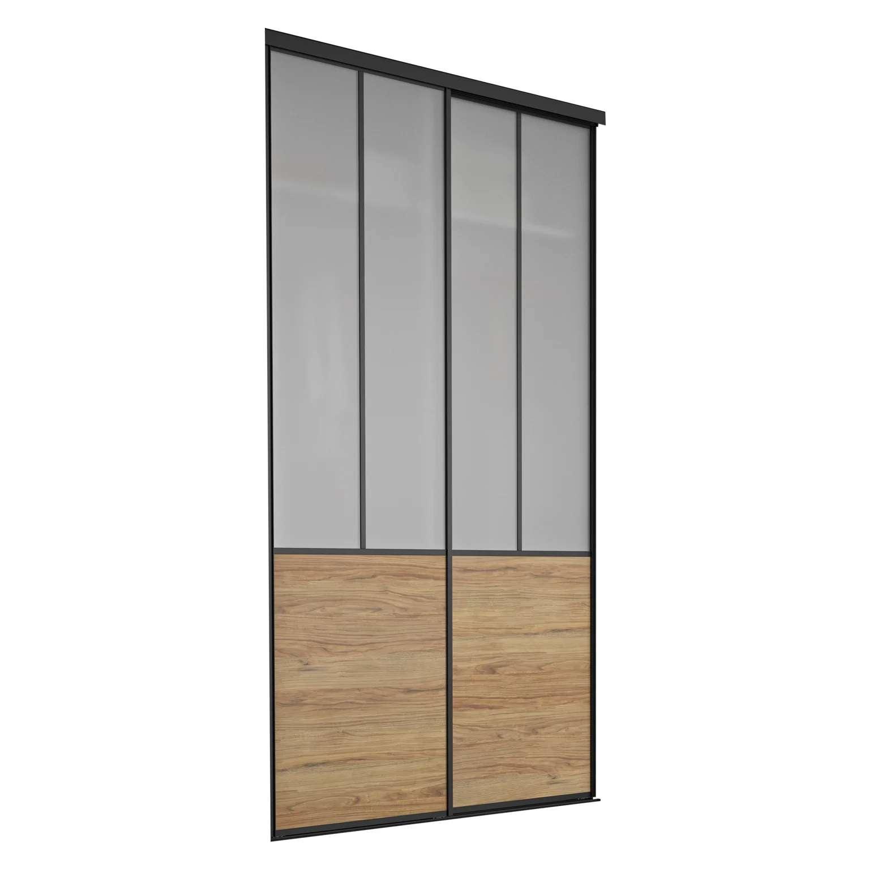 portes de placard coulissantes chicago 2 portes verre depoli chene l150xh250cm