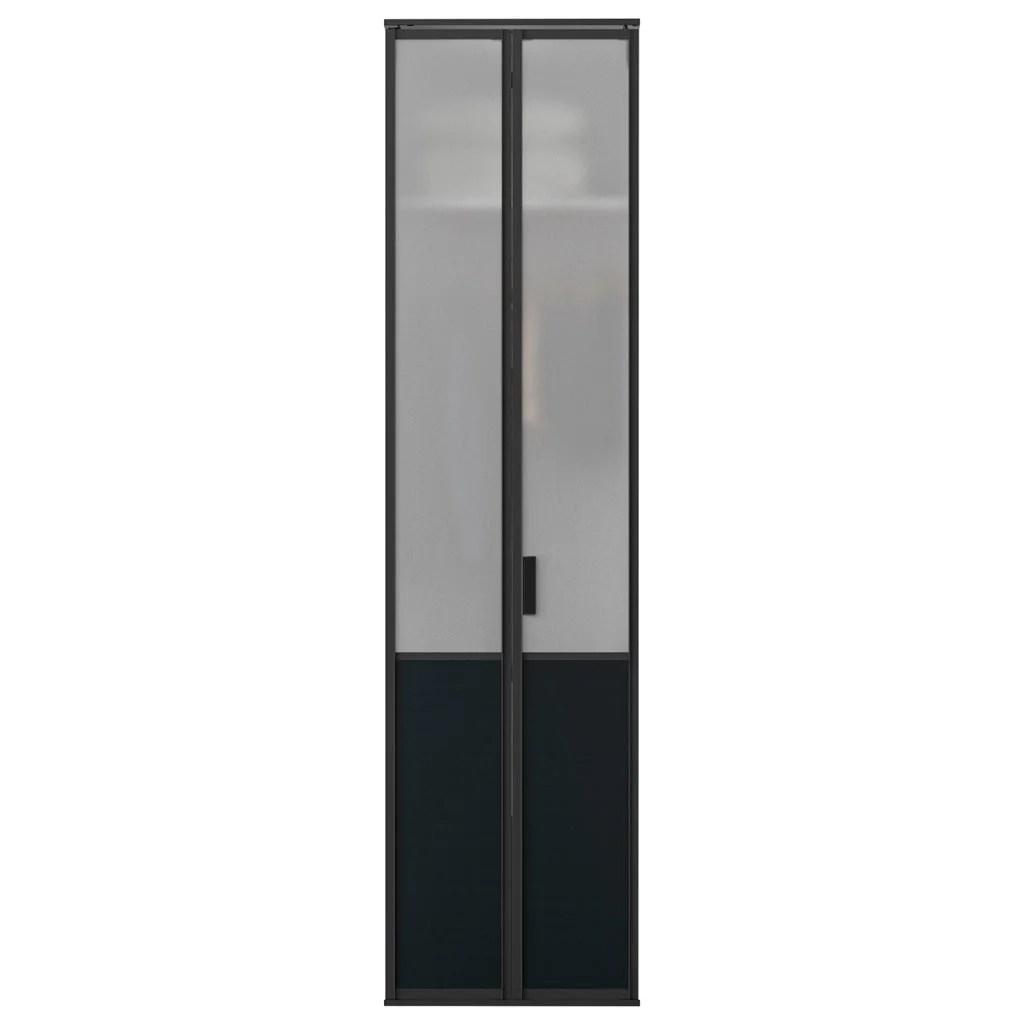 porte de placard pliante loft hambourg verre depoli noir satine l65xh205cm