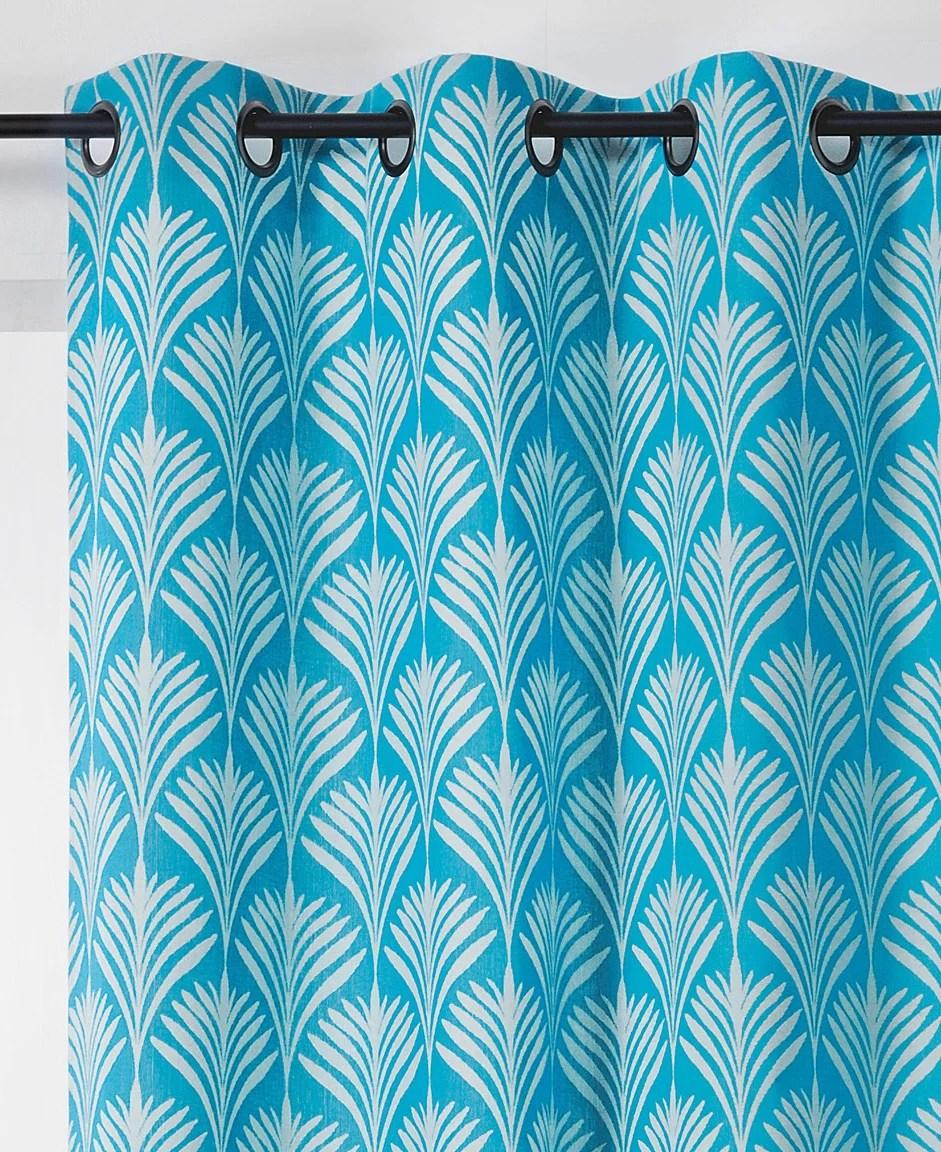 rideau tamisant coton majorelle bleu turquoise l 140 x h 240 cm linder