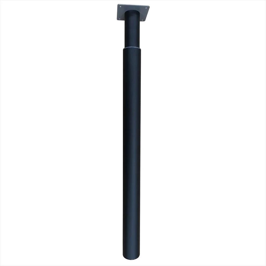 pied pour table ou bar cylindrique reglable a visser acier mat noir 110 cm