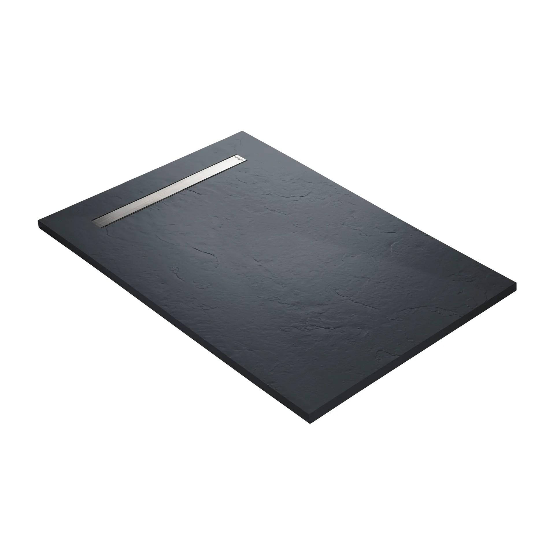receveur douche extra plat caniveau inox resine gris 120 x 80