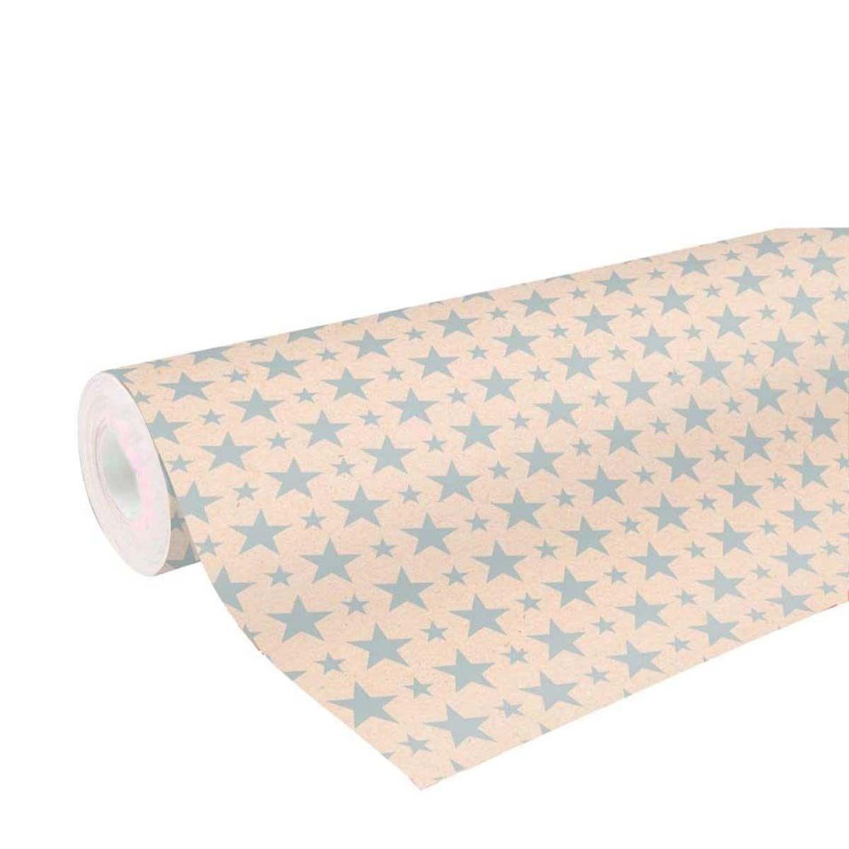 Gros Rouleau De Papier Cadeau Kraft Et Motifs Etoiles 50 Metres On Range Tout