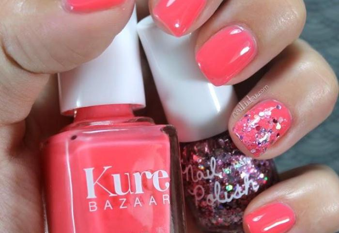 Uñas Decoradas Color Coral Con Purpurina Nail Art Paperblog