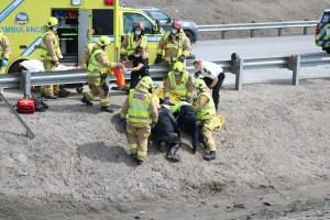 [EN IMAGES] Québec: une motocycliste blessée gravement après une perte de contrôle