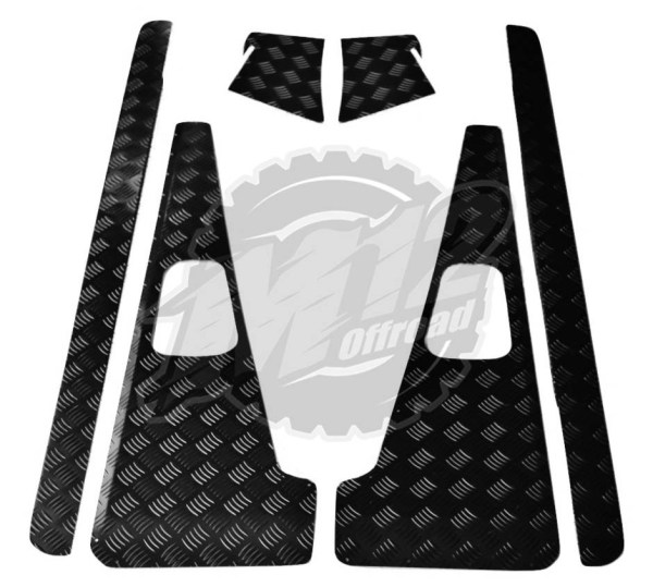 Defender 90 Set C - 2mm Chequer Plate - Powdercoated Black