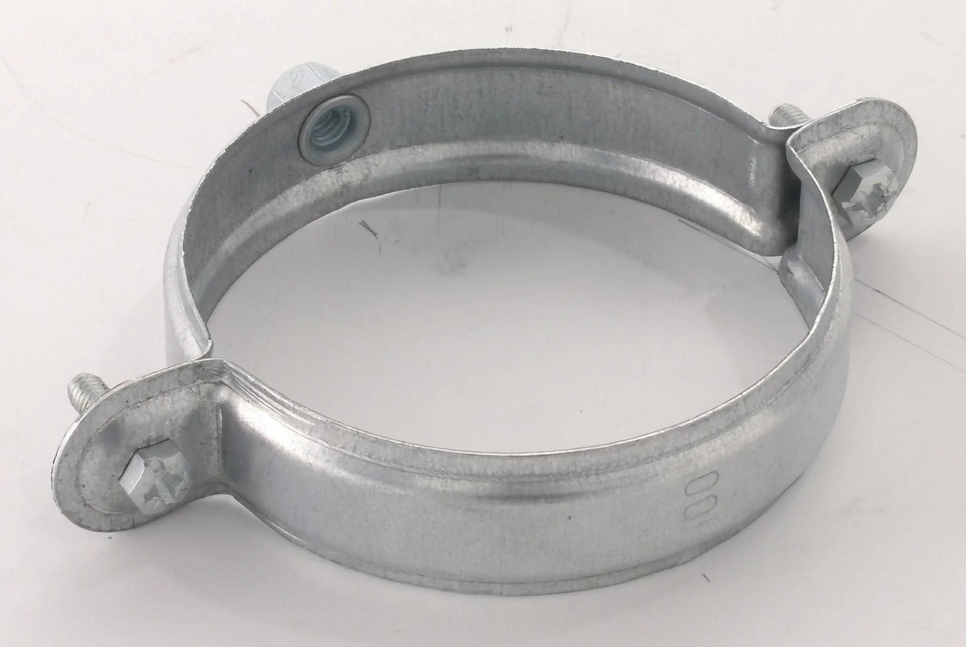 collier a embase taraudee pour gouttiere developpe 33 gris acier galvanise