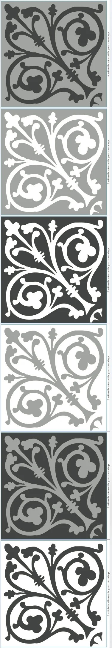 lot de 6 stickers adhesifs carrelage mural carreaux de ciment baroq 15 cm x 15 c