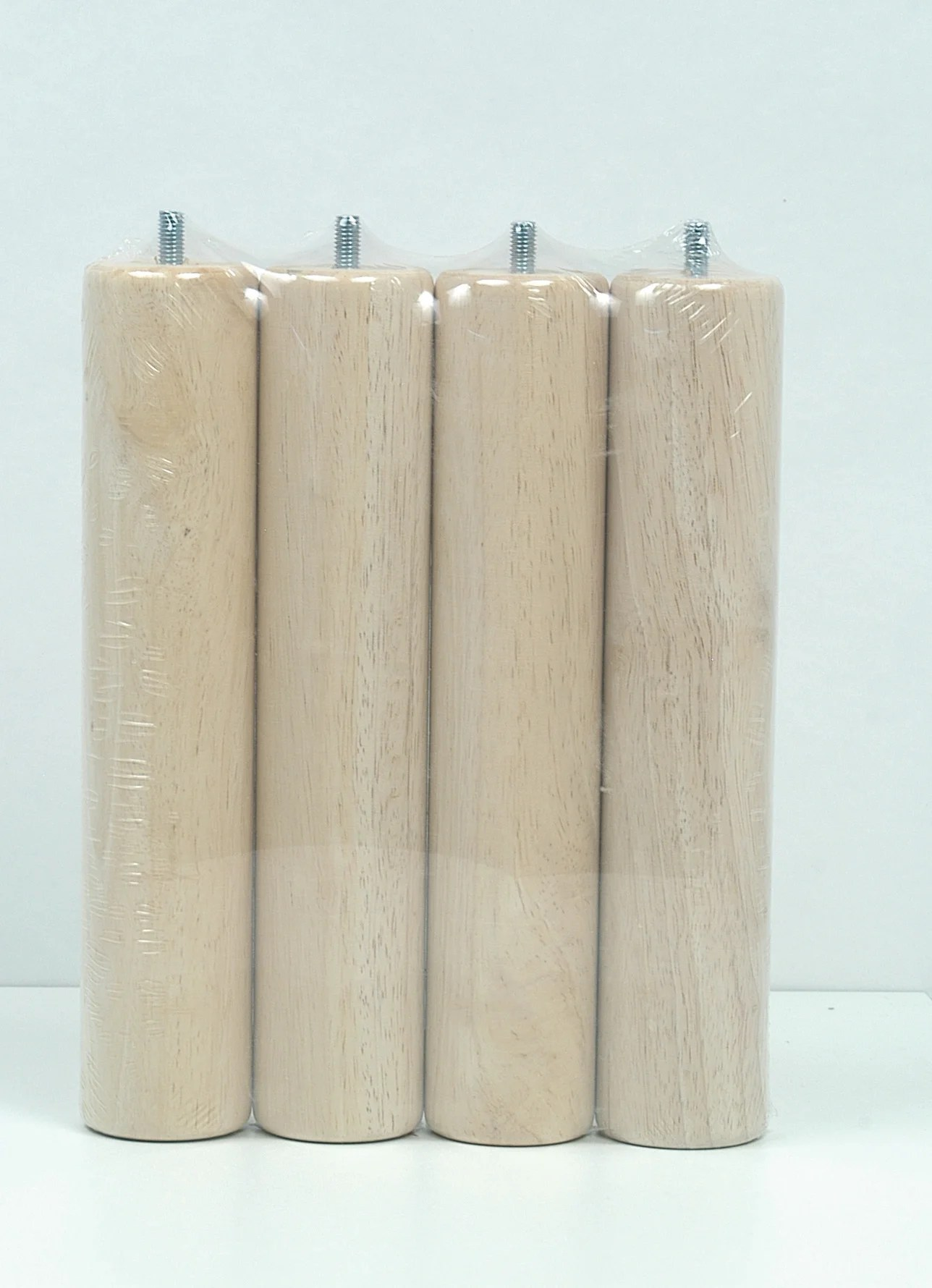 lot de 4 pieds de lit sommier cylindrique fixes hetre beige naturels 25cm