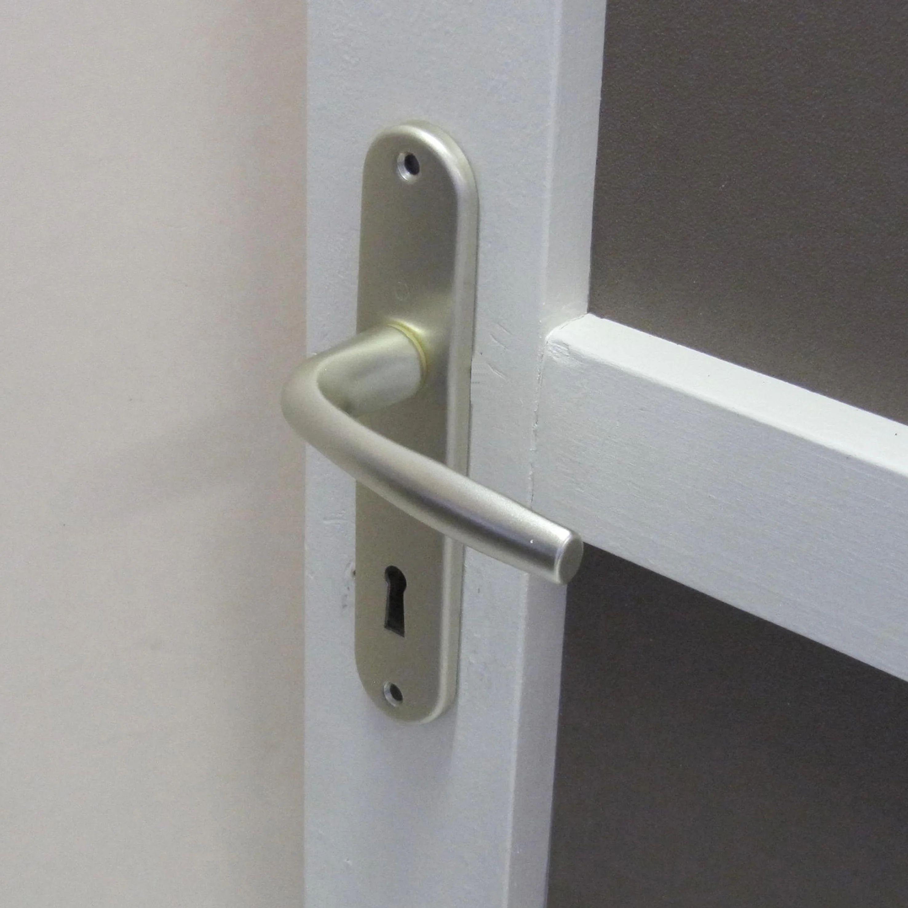 2 poignees de porte roissy trou de cle aluminium entraxe 165 mm