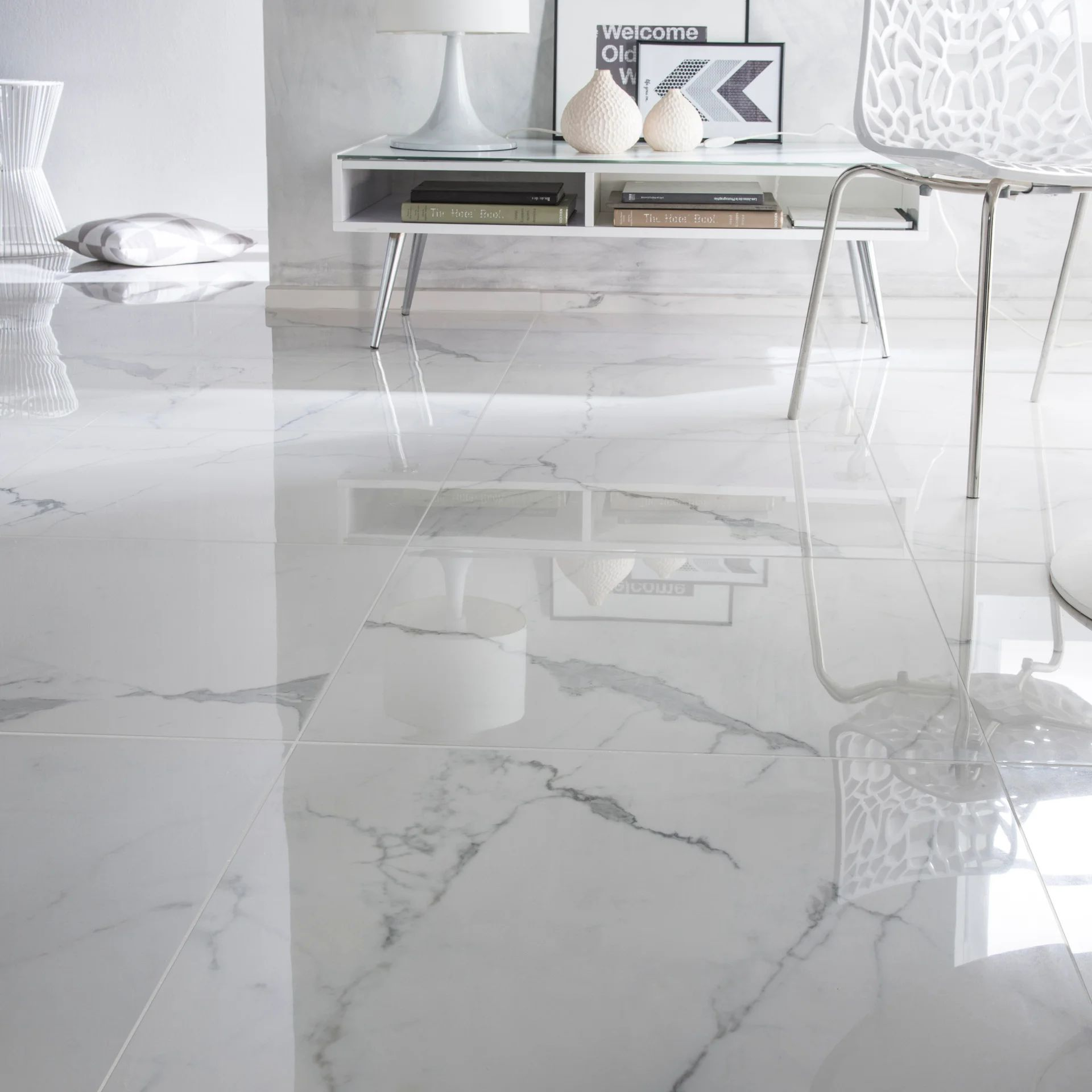 carrelage sol et mur intenso effet marbre blanc rimini l 60 x l 60 cm