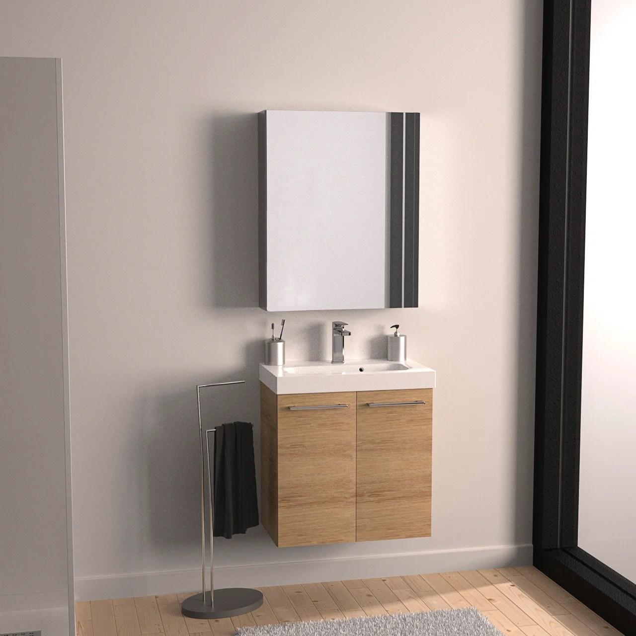meuble de salle de bains simple vasque l 60 x h 62 5 x p 48 cm chene natural