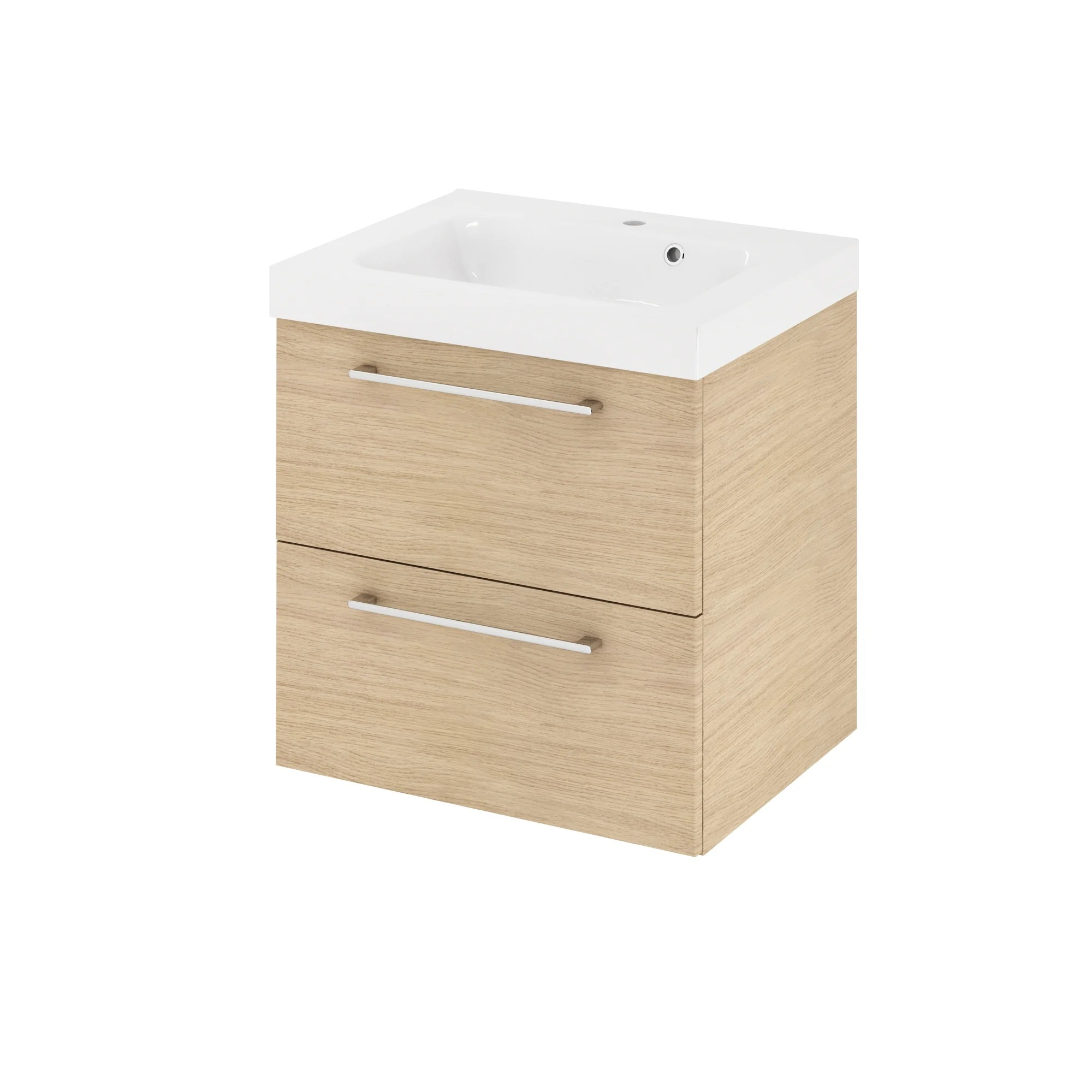 Meuble Simple Vasque L 60 X H 58 X P 46 Cm Effet Chene Naturel Remix Leroy Merlin