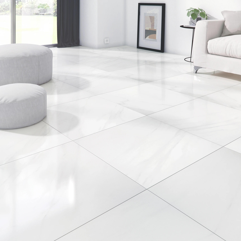 carrelage sol et mur intenso effet marbre blanc marmi l 60 x l 60 cm artens