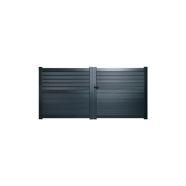 Portail Battant Aluminium Carnac Gris Zinc Naterial L 299 X H 148 3 Cm Leroy Merlin