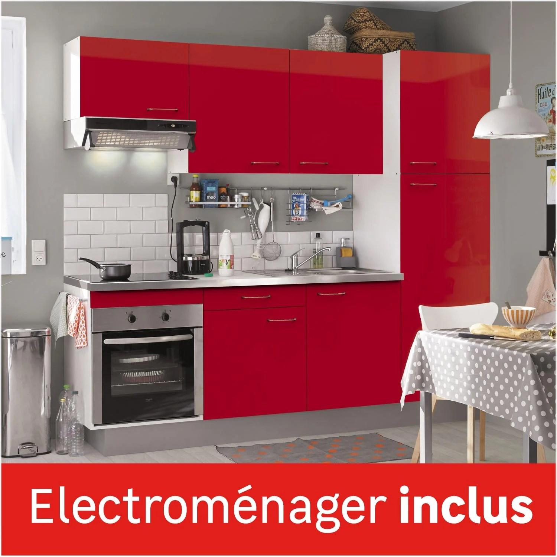 Cuisine Equipee Rouge Brillant L 240 Cm Electromenager Inclus Leroy Merlin