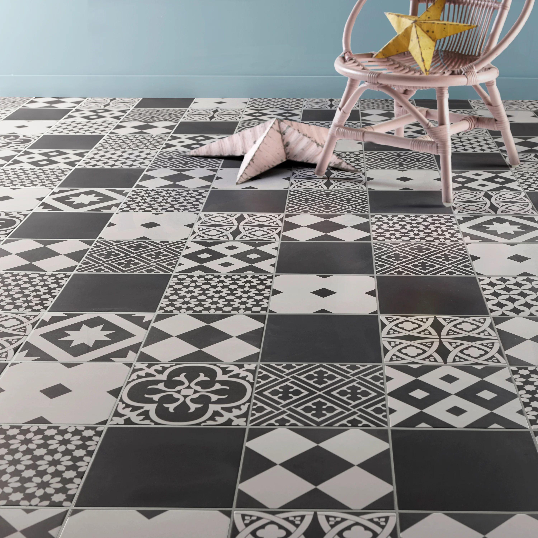 carrelage sol mur forte effet carreau ciment noir et blanc gatsby l 20 x l 20 cm