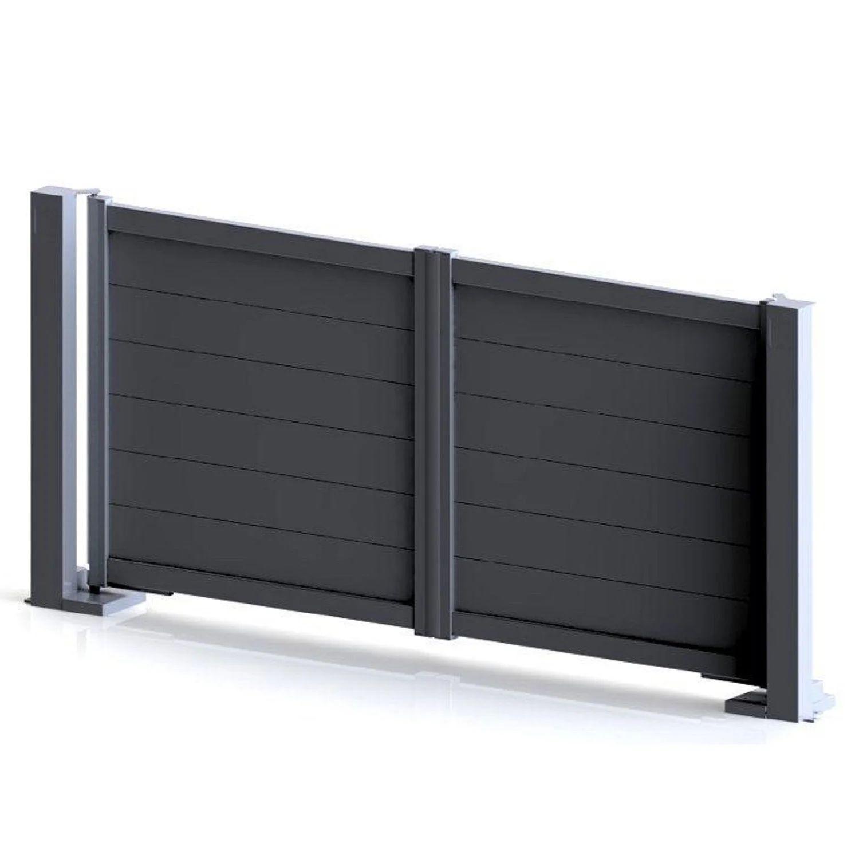 Portail Battant Aluminium Lameline Gris L 350 X H 168 Cm Leroy Merlin