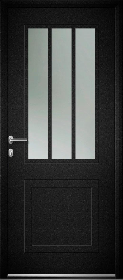 Porte D Entree Alu Atelier Premium H 215 X L 90 Cm Vitree Noir Pous Gauche Leroy Merlin