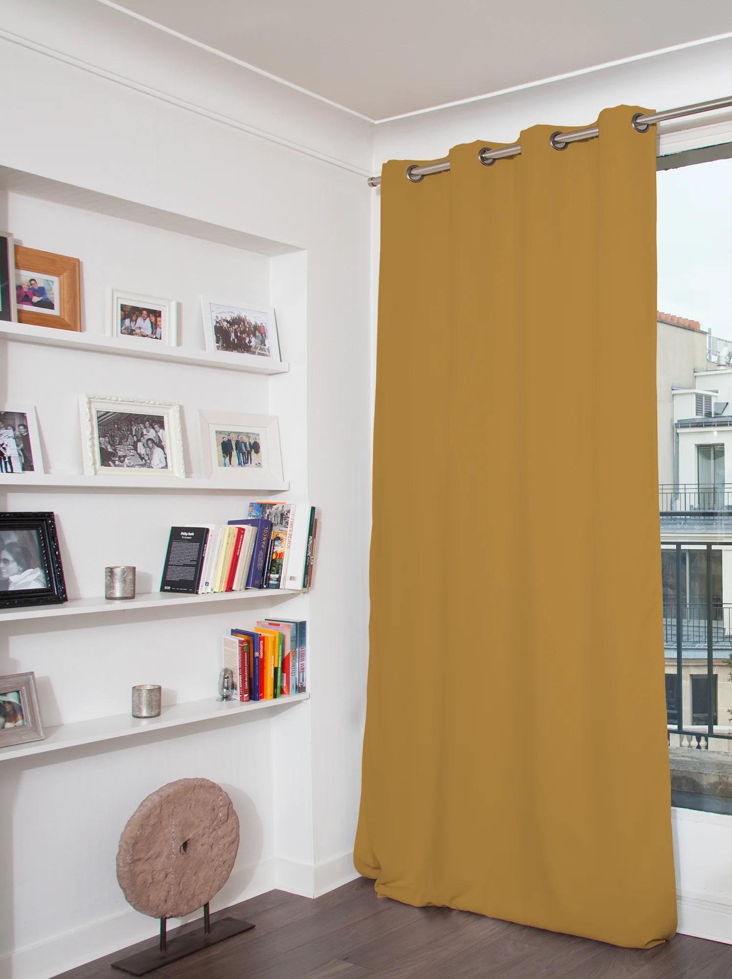 rideau occultant revolution jaune moutarde l 135 x h 260 cm moondream