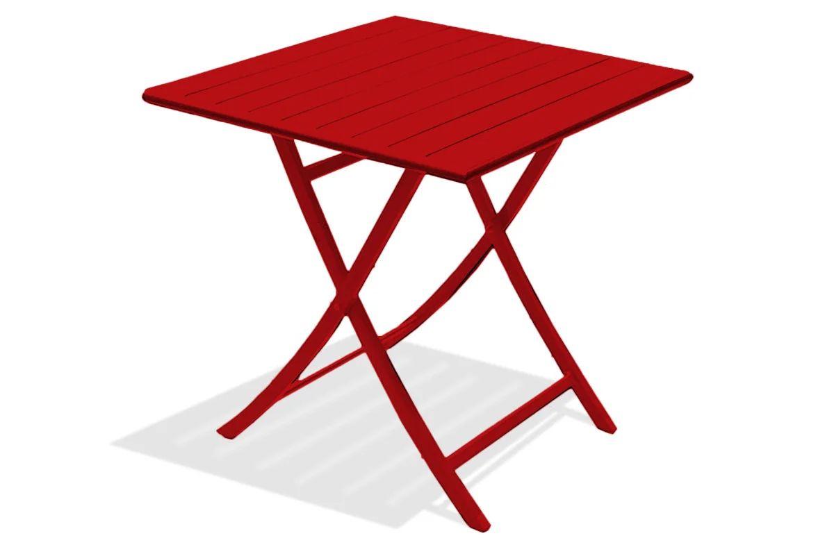 table de jardin de repas dcb garden marius carree rouge carmin 2 personnes