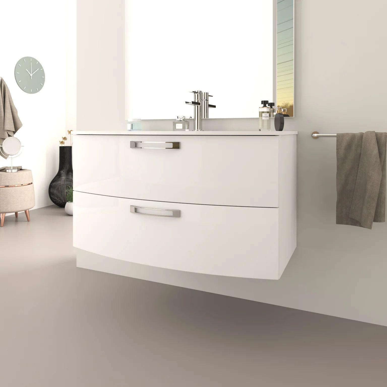 Meuble Simple Vasque L 100 X H 55 Blanc Brillant Comfort Leroy Merlin
