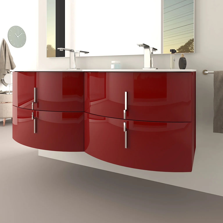 Meuble Double Vasque L 138 X H 55 Rouge Brillant Sting Leroy Merlin