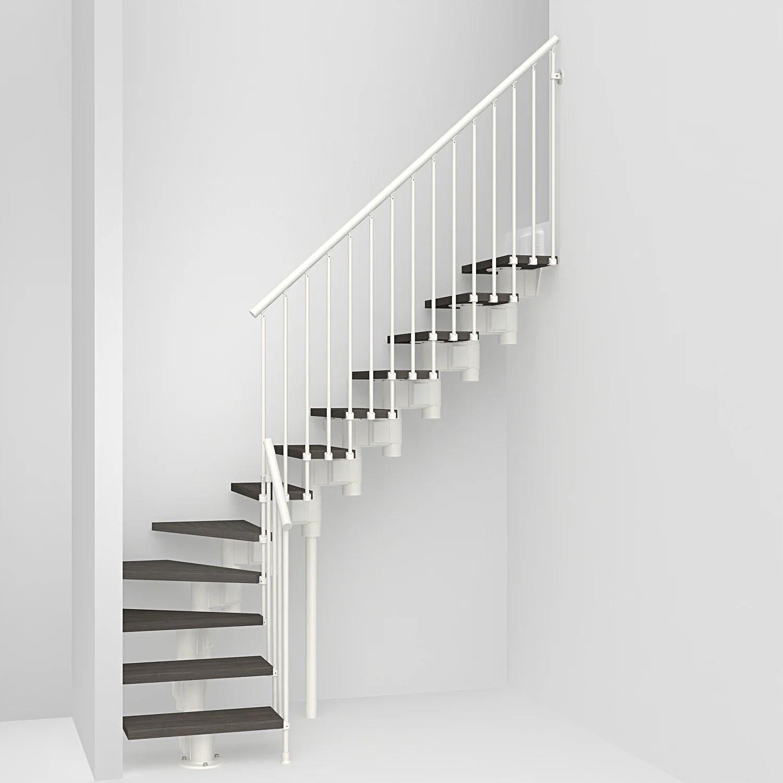 Escalier 1 4 Tournant Bas Revers Acier Blanc Long 12 Mar Orme Fonce L 65 Cm Leroy Merlin