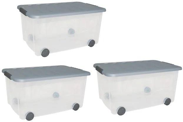 Lot De 3 Boites Allibert Plastique Transparent L 60 X P 39 X H 31 Cm Cm Leroy Merlin
