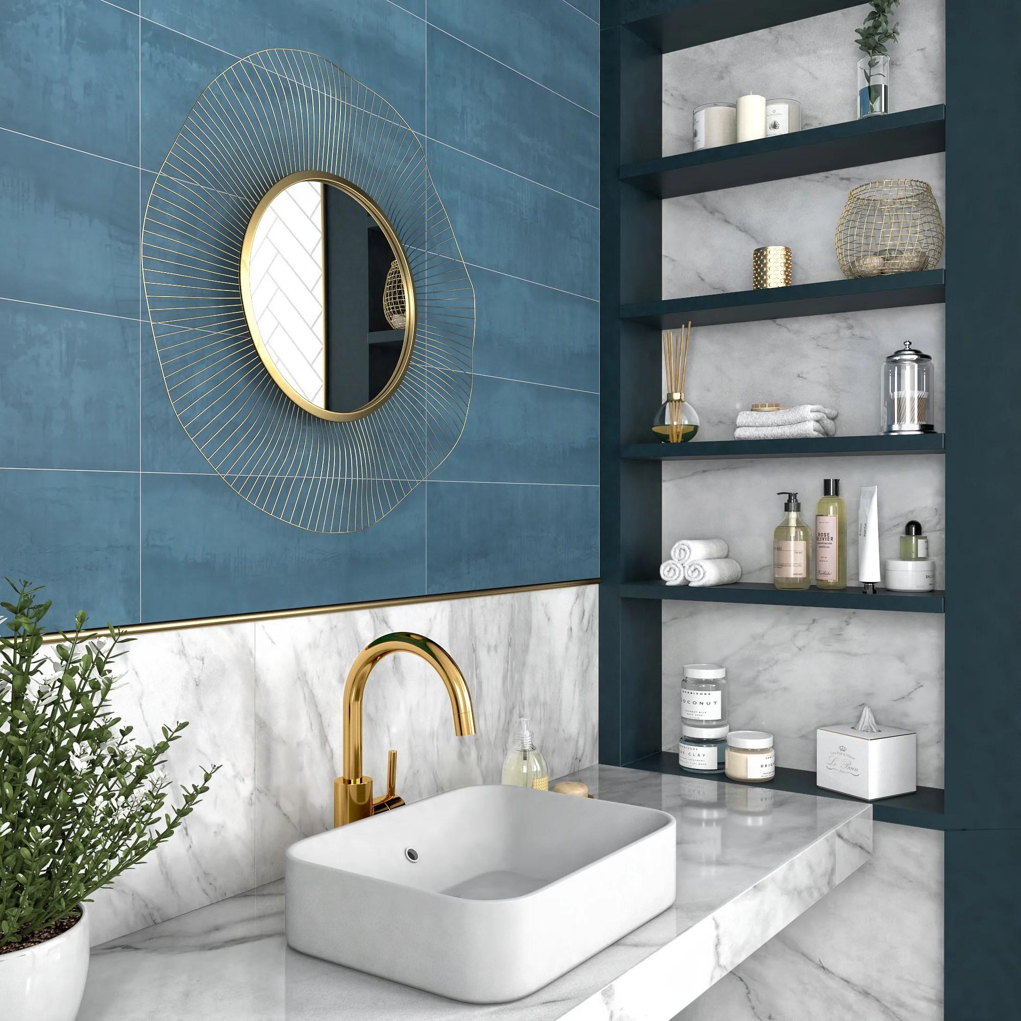 carrelage mur forte beton bleu clair brillante et mate l 20 x l 60 cm hook