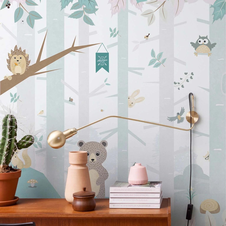 Papier Peint Panoramique Intisse Smalltalk Forest Animals Bleu Leroy Merlin